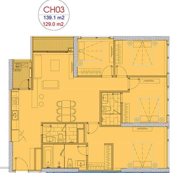 Mặt bằng căn hộ 4 phòng ngủ